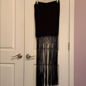 Black H&M Bodycon Skirt with long fringe